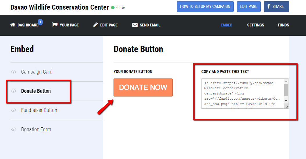 How can I embed my donation button on a webpage? – Fundly Support Center